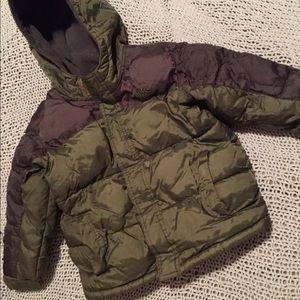 VGUC 4T Boy Old Navy Green  Puffer Coat w/ Hood